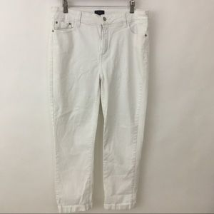 NYDJ Sz 14 White Ankle Pants Denim Jeans